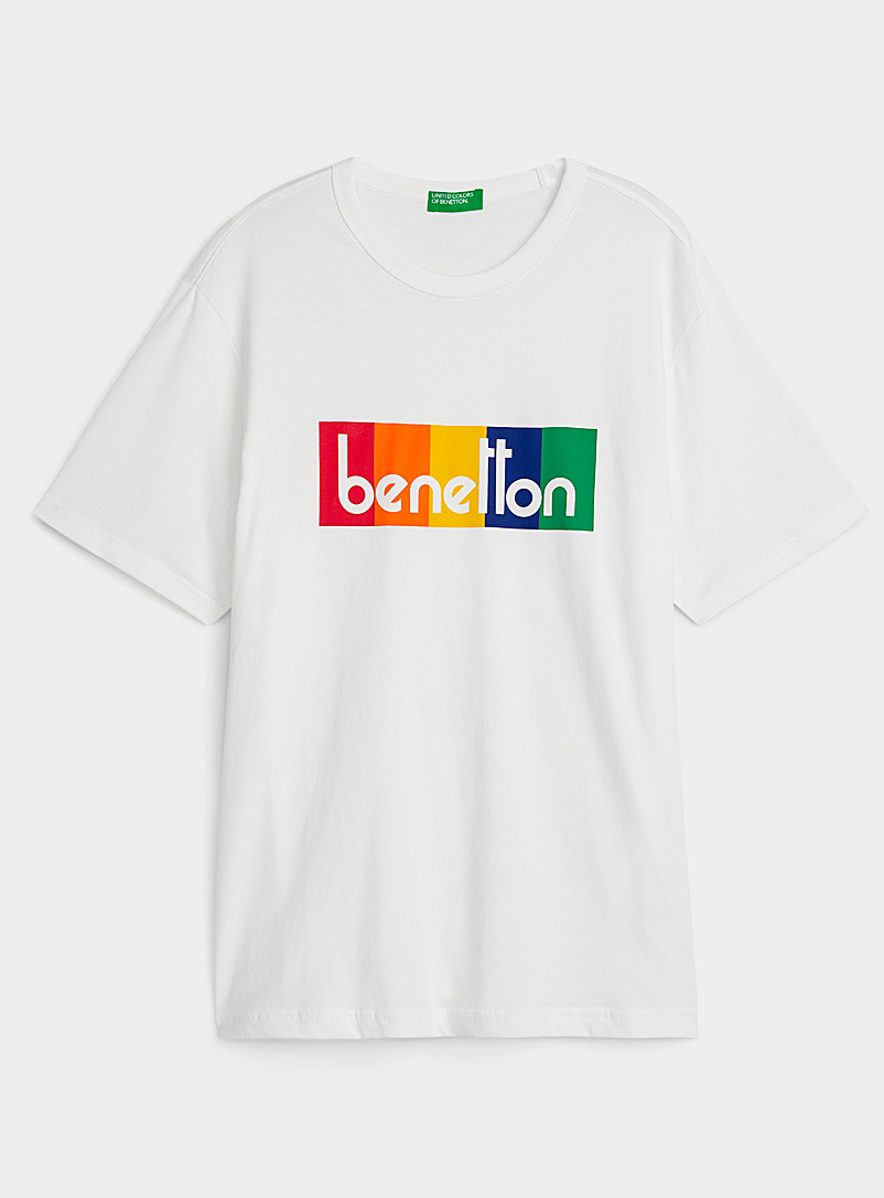 United Colors of Benetton White Signature accent T-shirt for men