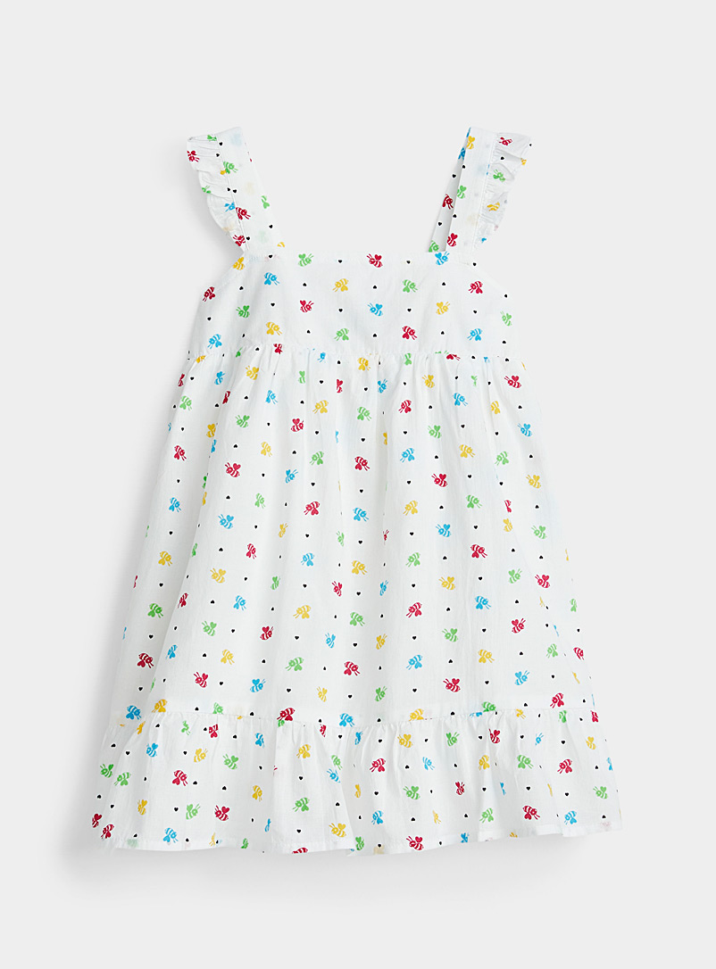 United Colors of Benetton Patterned White Colourful bee dress Kids for women