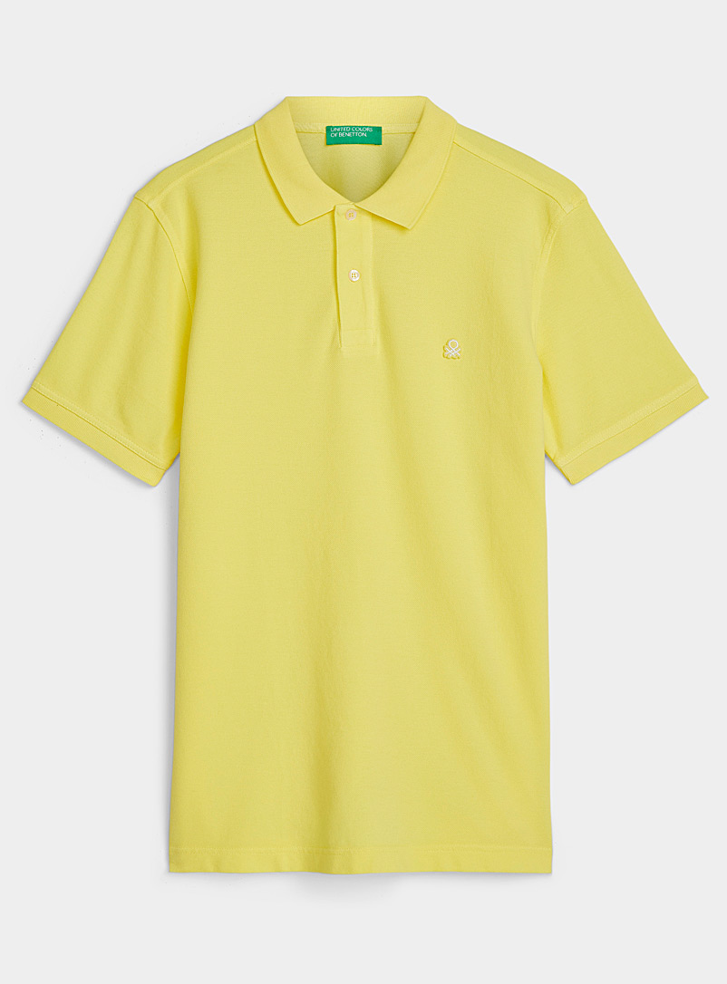 United Colors of Benetton Lime Green Signature polo for men