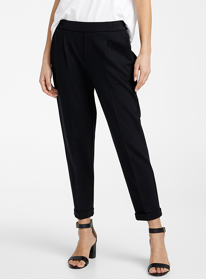 United Colors of Benetton Black Elastic-waist cuffed pant for women