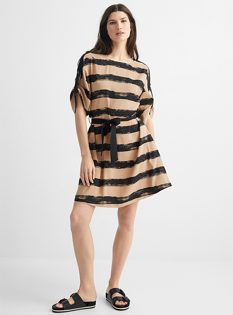 United Colors of Benetton Patterned Brown Brushstroke stripe dress for women
