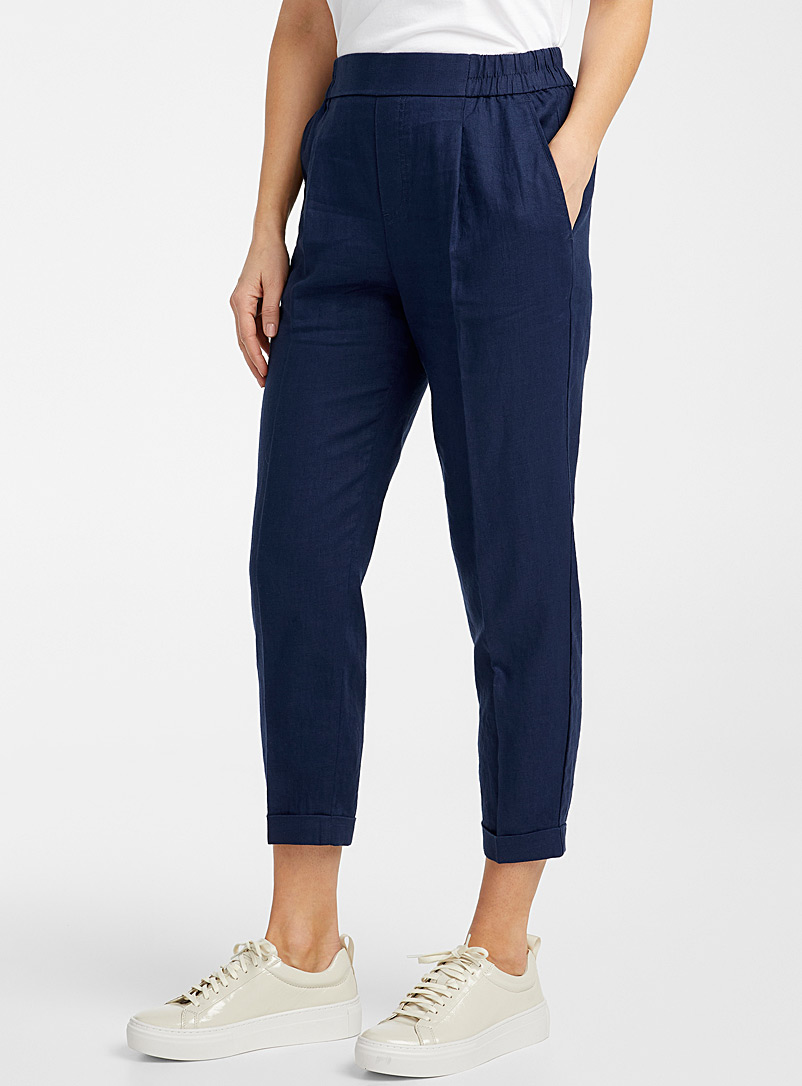 United Colors of Benetton Marine Blue Linen semi-slim pant for women