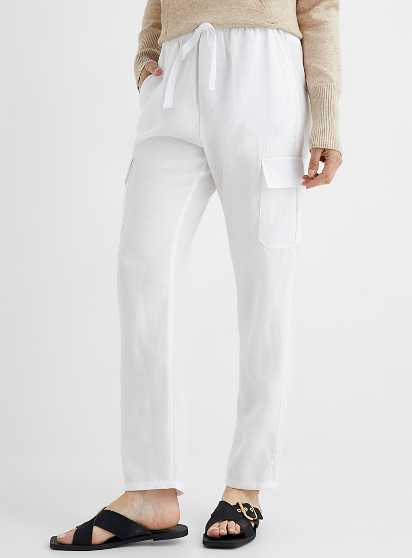 United Colors of Benetton White Elastic waist cargo pant for women