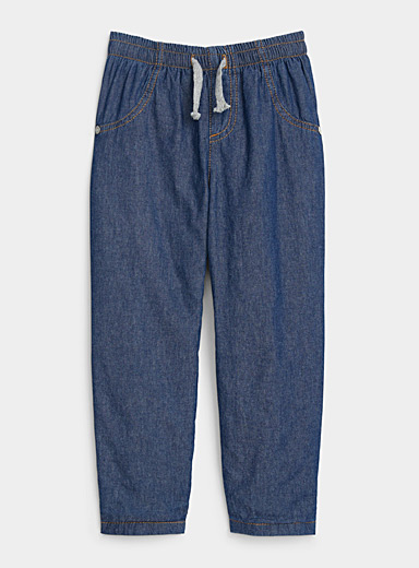 United Colors of Benetton Marine Blue Jersey-lined denim joggers for women