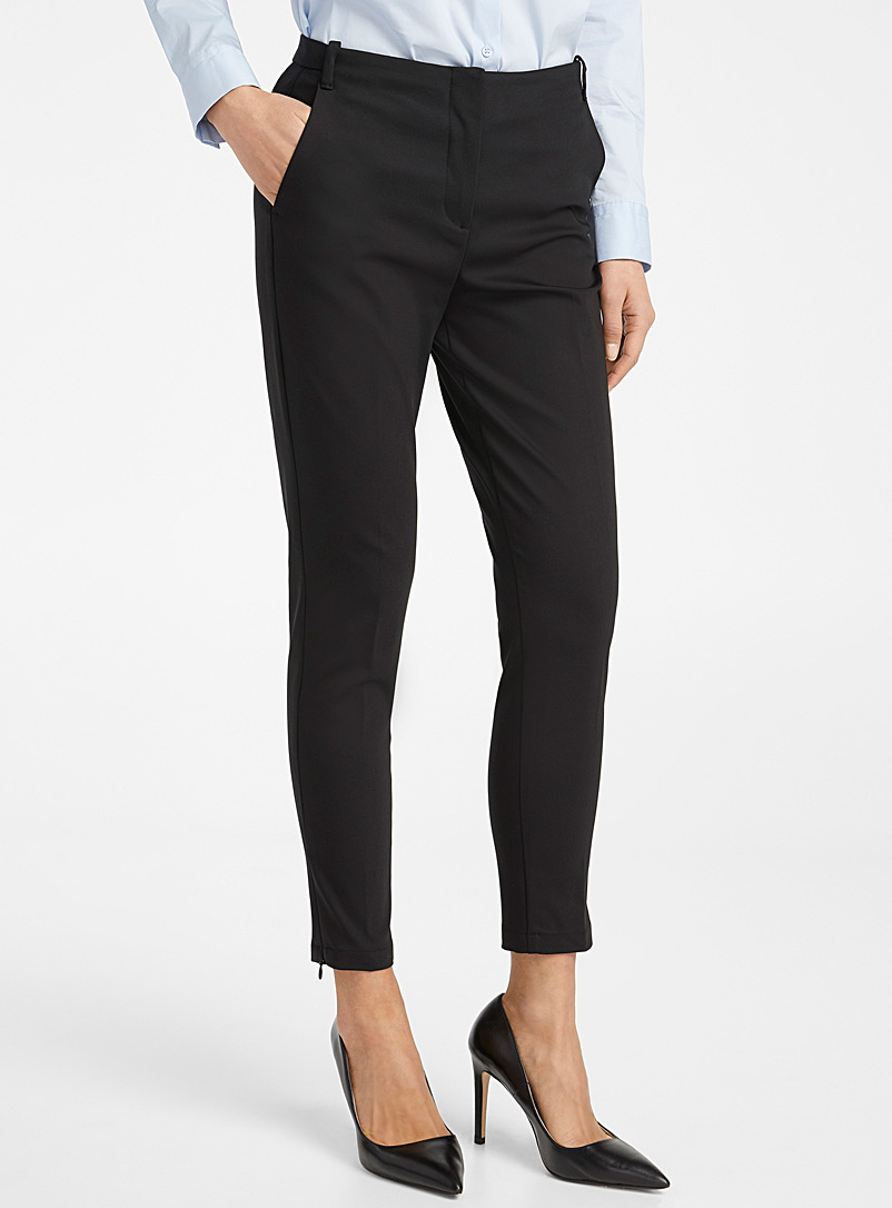 United Colors of Benetton Black Structured slim pant for women