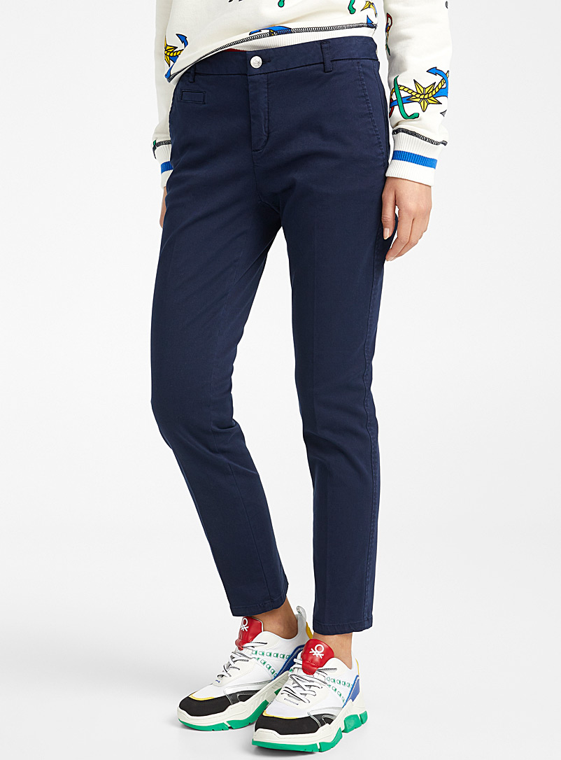 United Colors of Benetton Marine Blue Slim-fit chinos for women
