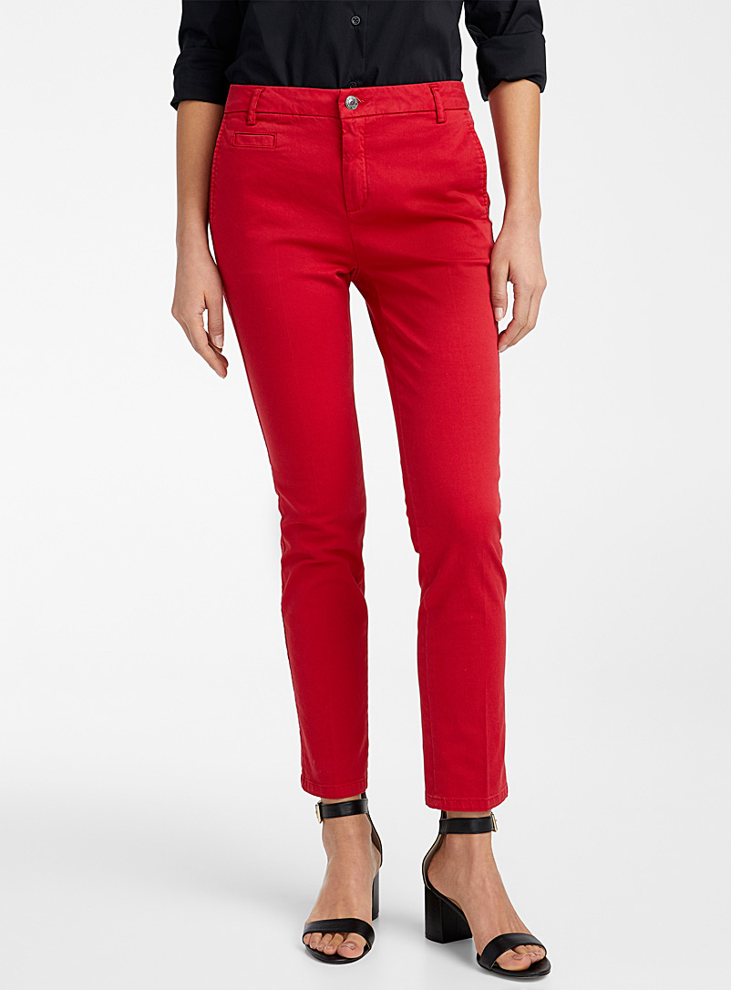 United Colors of Benetton Ruby Red Slim-fit chinos for women
