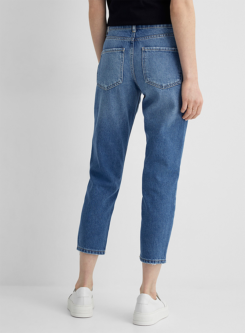 United Colors of Benetton Blue Distressed detail cropped jean for women