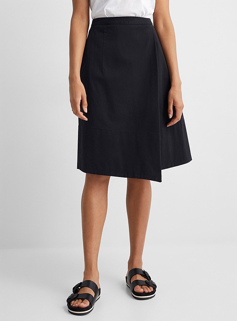 United Colors of Benetton Black Structured cotton full skirt for women