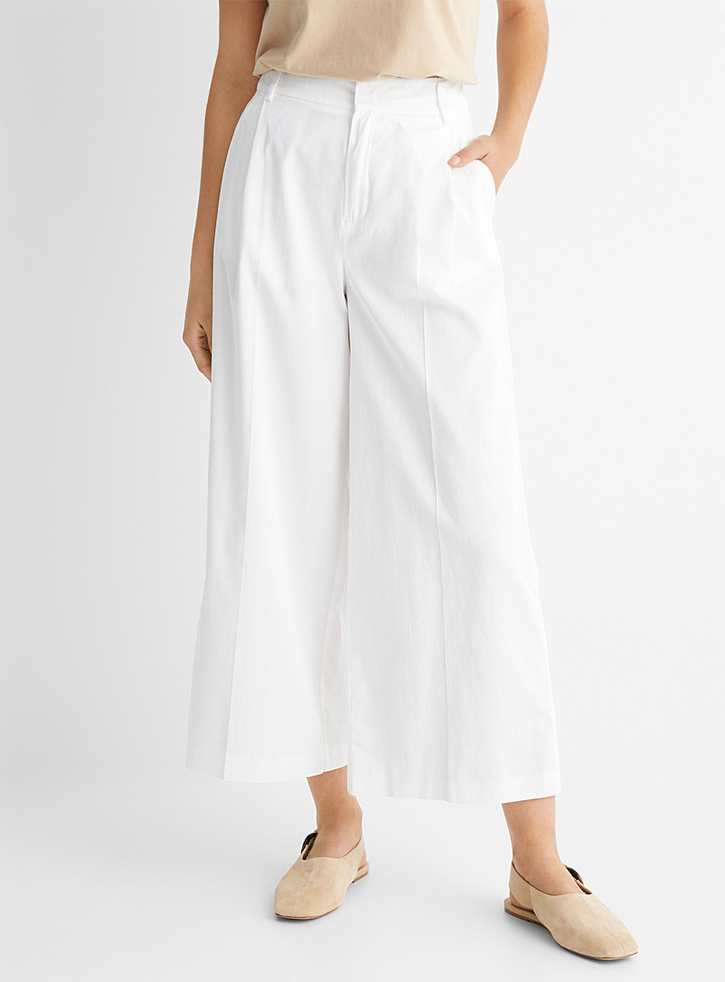 United Colors of Benetton White Wide-leg cotton-lyocell 3/4 pant for women