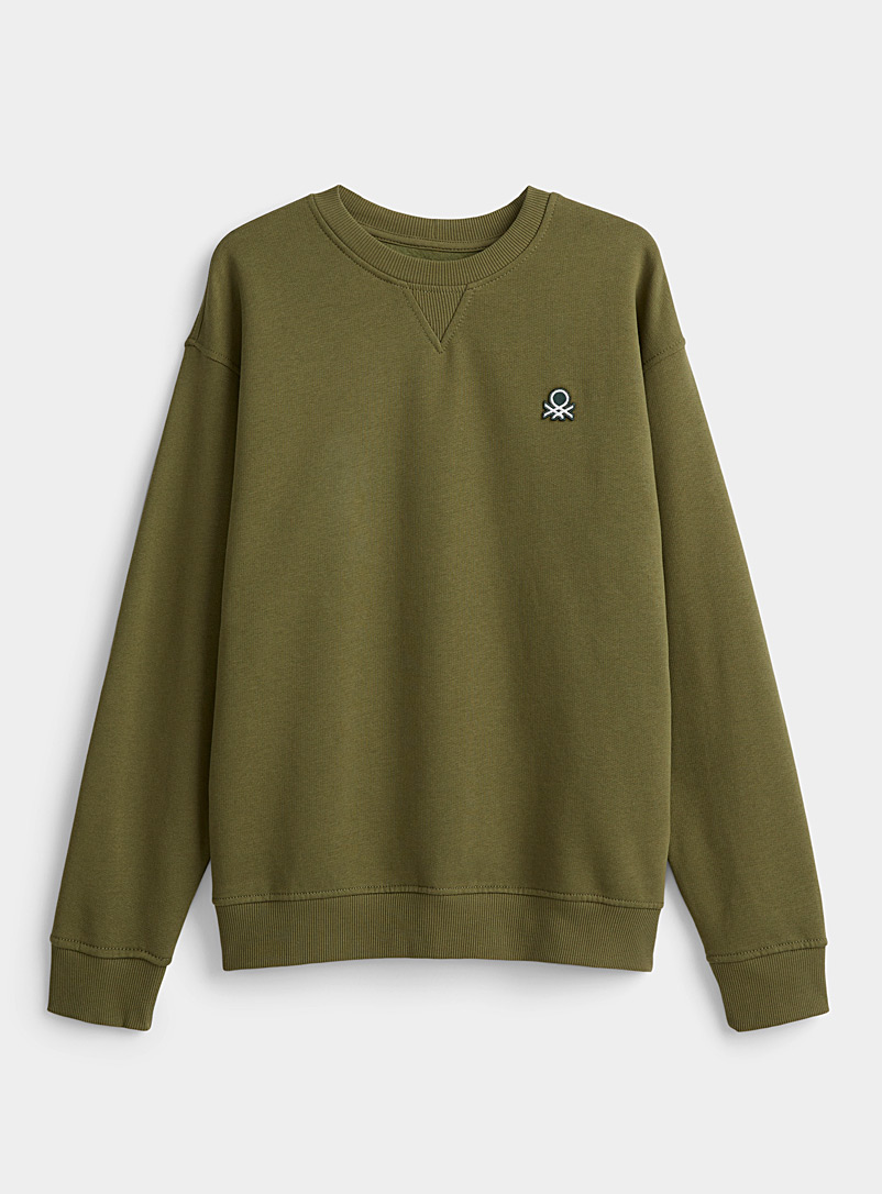 United Colors of Benetton Mossy Green Colourful sweatshirt for men