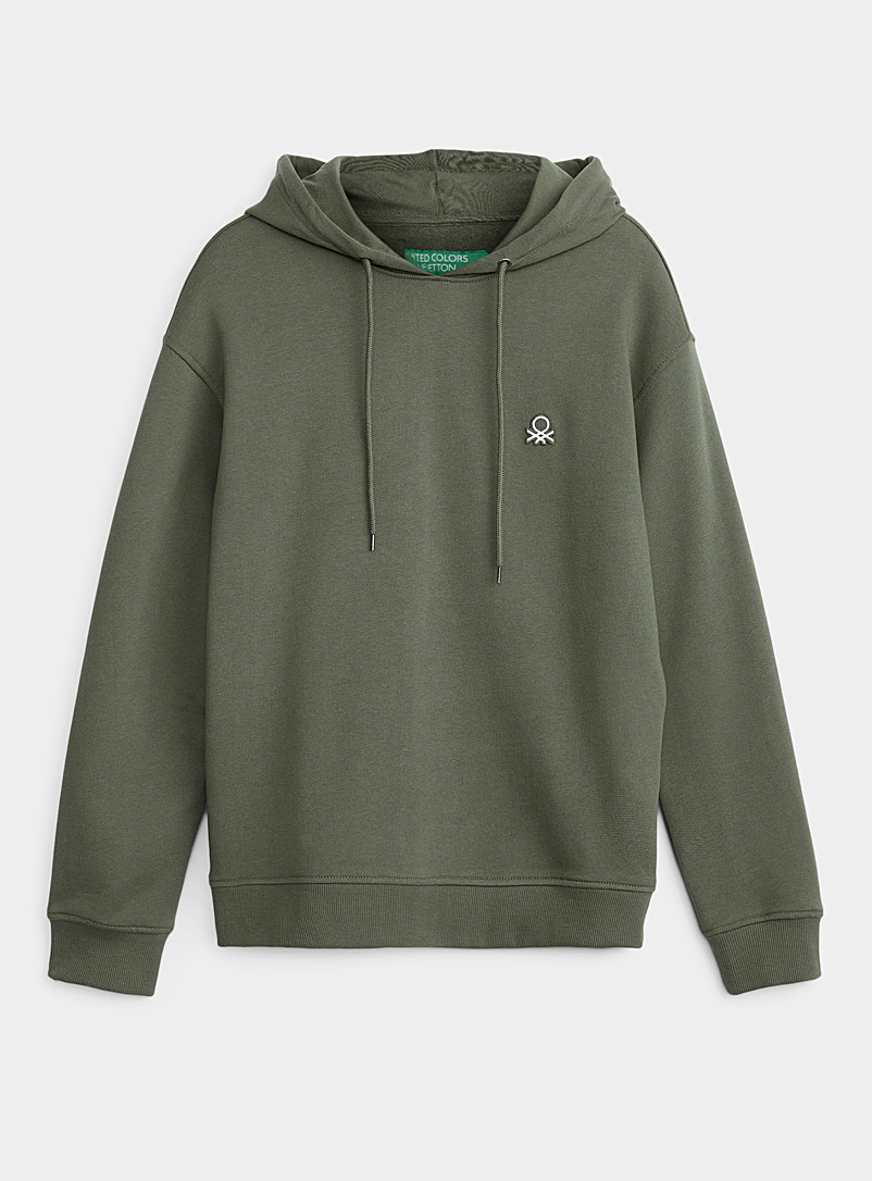 United Colors of Benetton Mossy Green Colourful hoodie for men