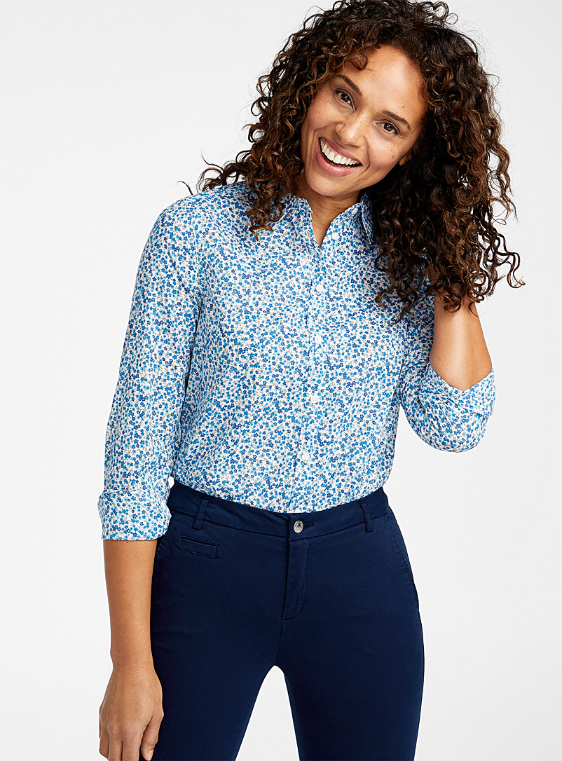 United Colors of Benetton Patterned Blue Colourful garden shirt for women