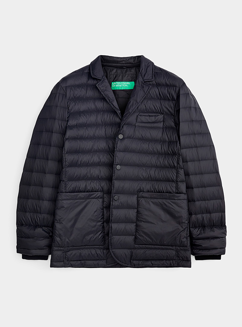 United Colors of Benetton Black Quilted jacket-style coat for men