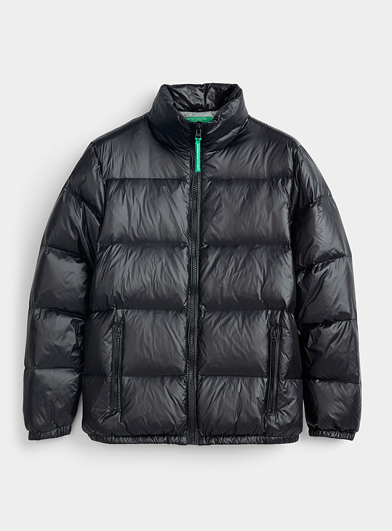 United Colors of Benetton Black Shiny puffer jacket for men