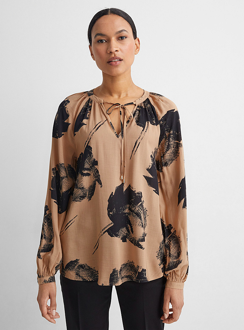 United Colors of Benetton Patterned Brown Floral stamp sheer blouse for women
