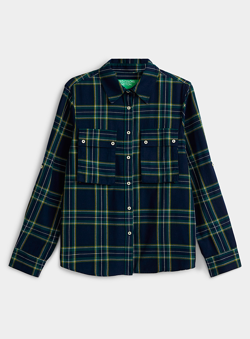 United Colors of Benetton Patterned Blue Tartan flannel shirt for women