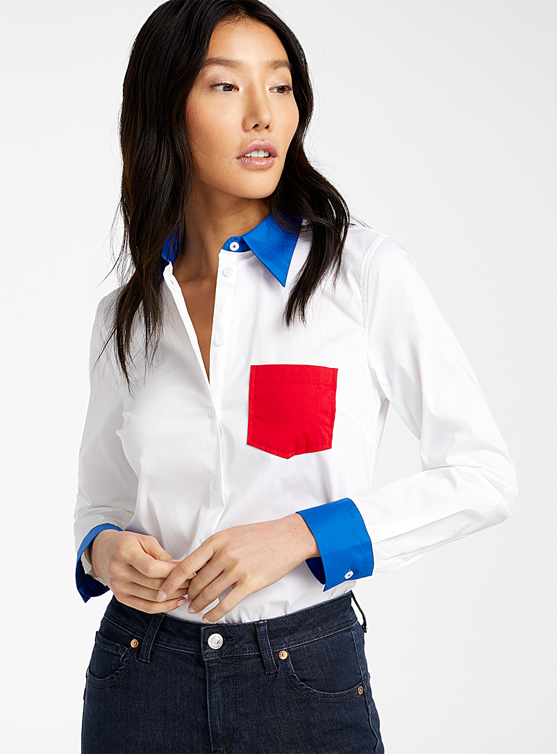 United Colors of Benetton Patterned White Stretch poplin shirt for women