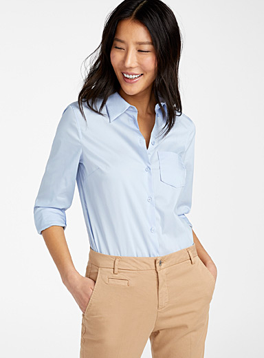 United Colors of Benetton Baby Blue Stretch poplin shirt for women