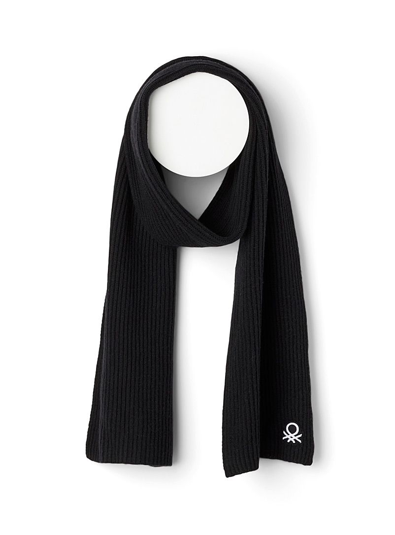 United Colors of Benetton Black Ribbed monochrome wool scarf for women