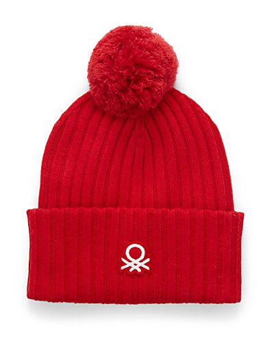 United Colors of Benetton: La tuque signature à pompon Rouge pour femme