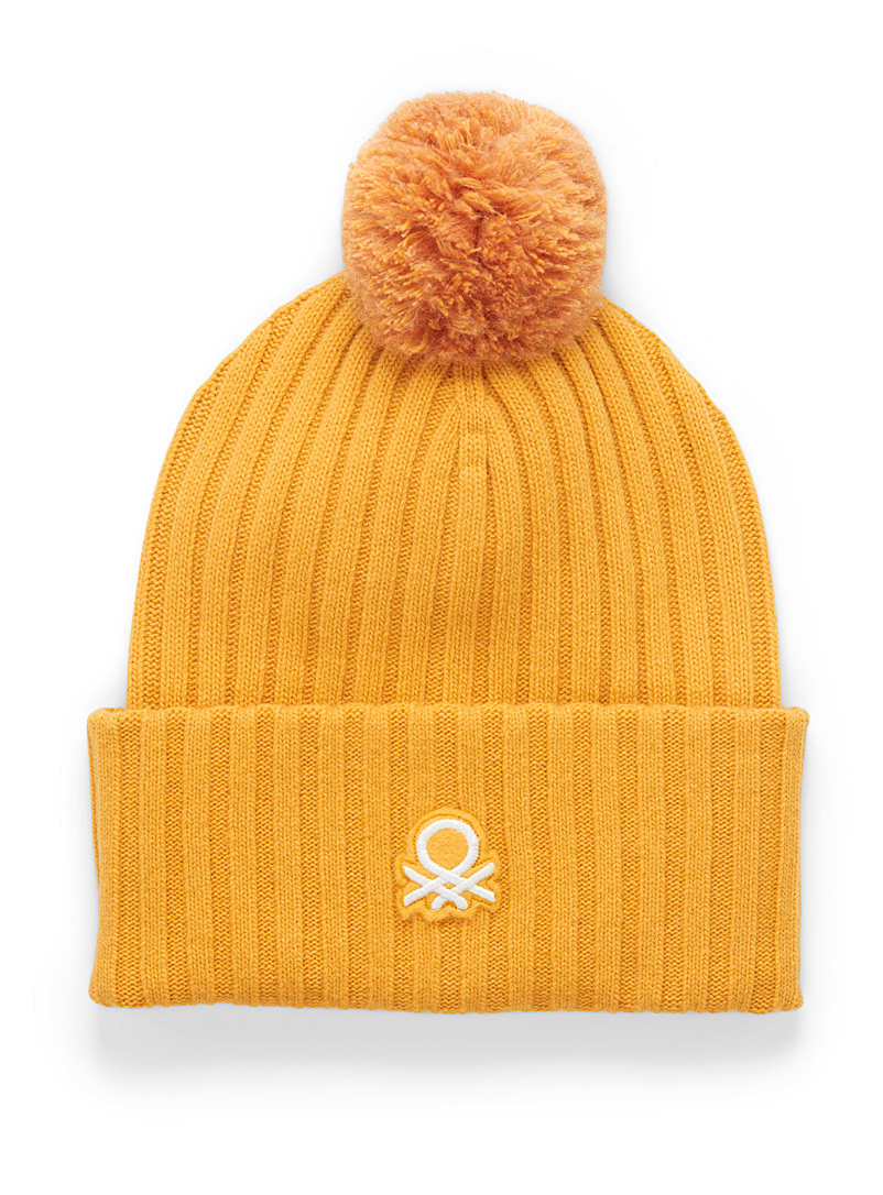 United Colors of Benetton: La tuque signature à pompon Jaune pour femme