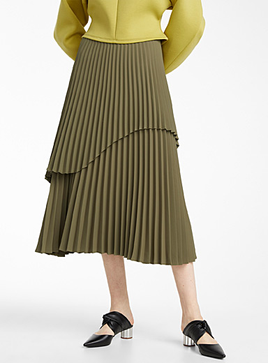 Beaufille Khaki Olsen skirt for women