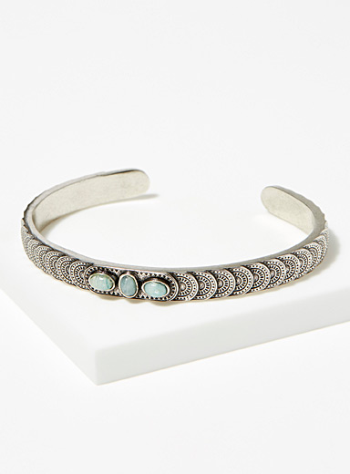 Amazonite trio textured bracelet