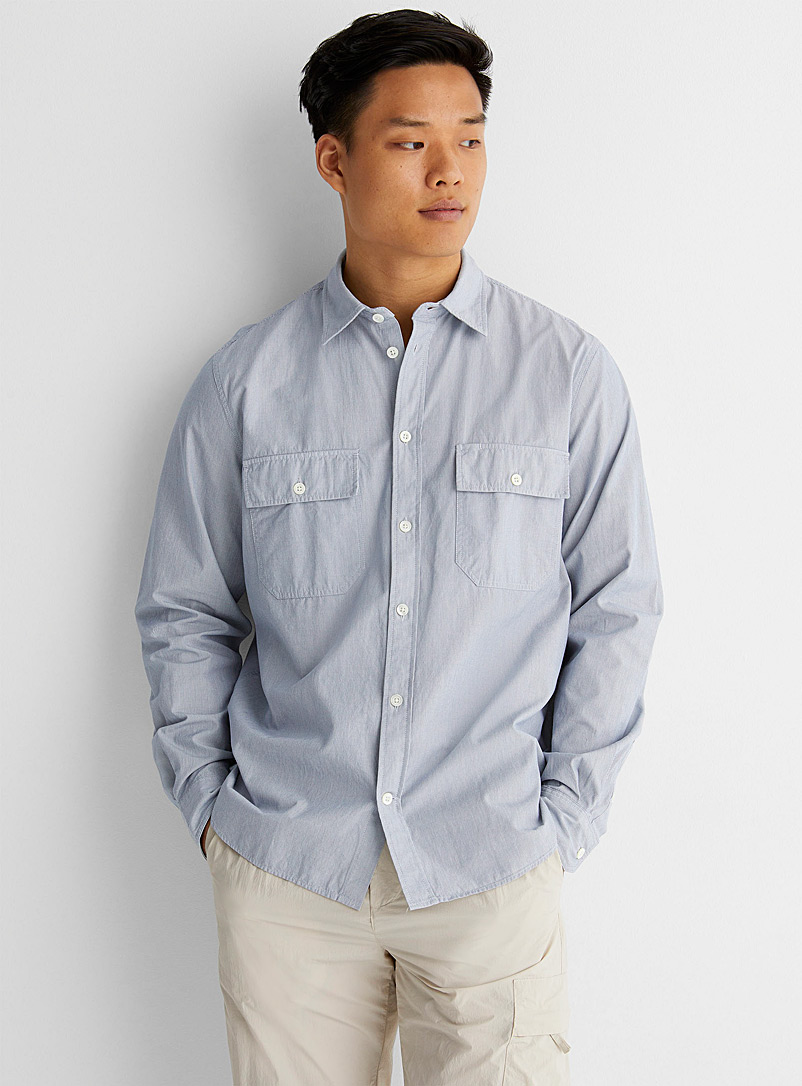Norse Projects Blue Micro-stripe shirt for men