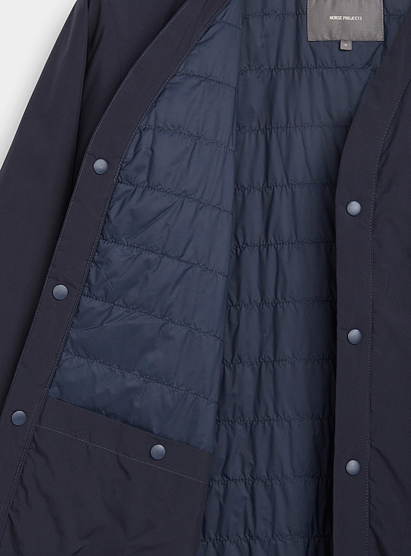 Norse Projects Dark Blue Finely quilted buttoned V-neck jacket for men