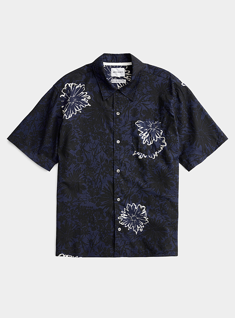Norse Projects Marine Blue Dark floral shirt for men