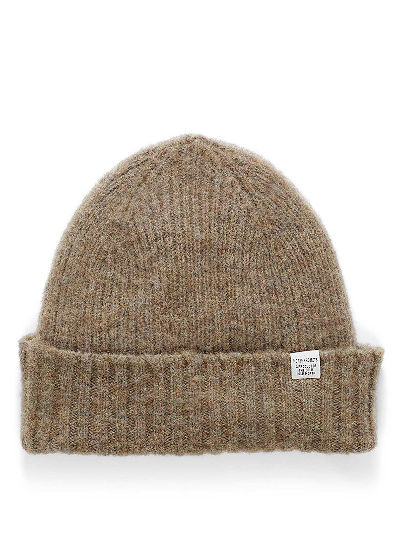 Norse Projects Light Brown Brushed lambswool tuque for men
