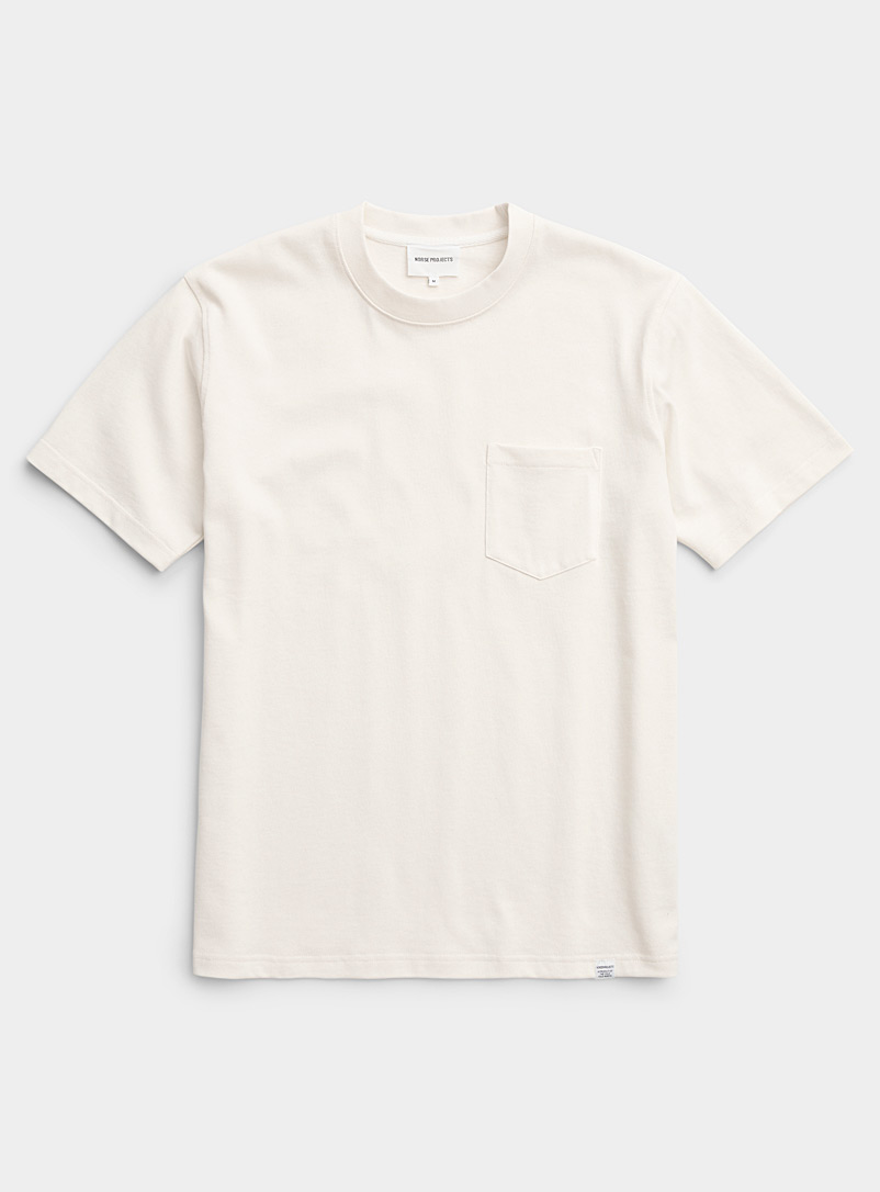 Norse Projects Ecru/Linen Minimalist short-sleeve pocket T-shirt for men