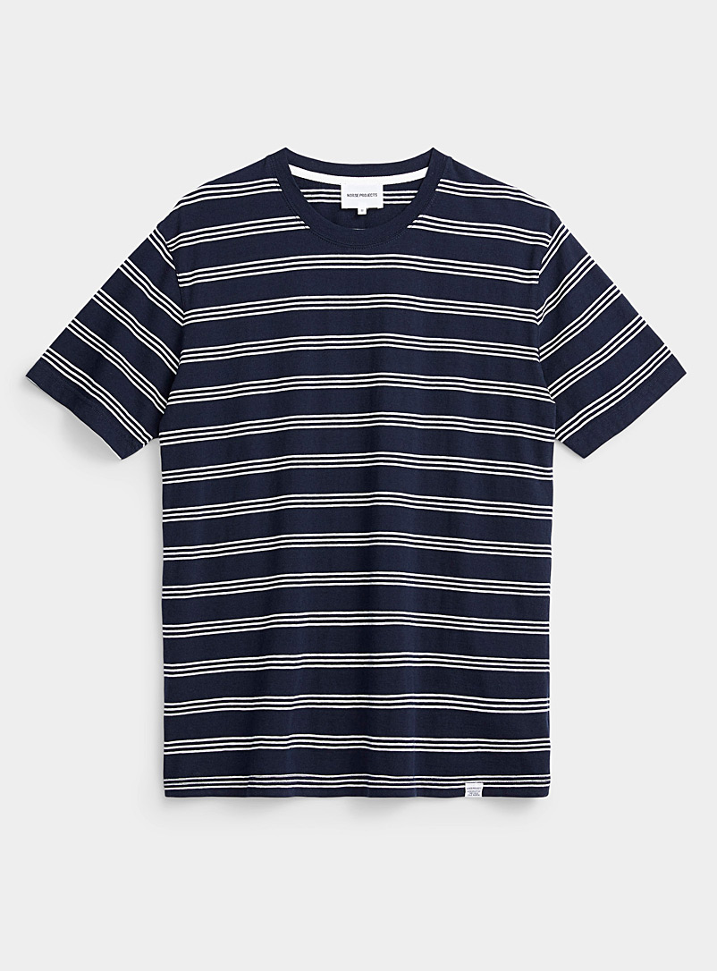 Norse Projects Dark Blue Triple stripe T-shirt for men