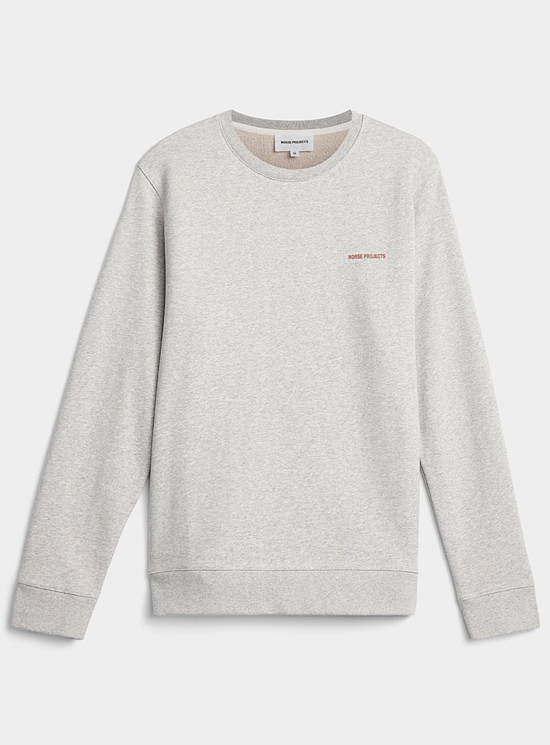 Norse Projects Light Grey Terry-lined mini-logo sweatshirt for men