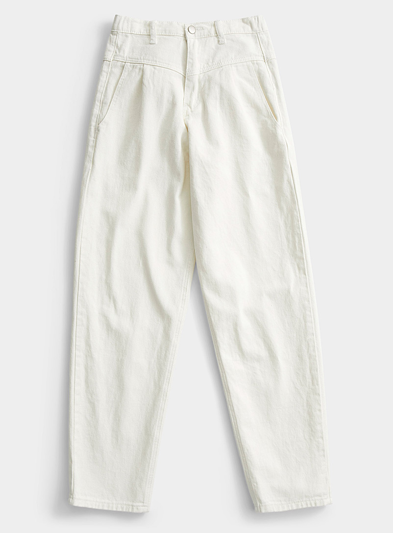 Icône Cream Beige Elastic waist V-panel jean for women