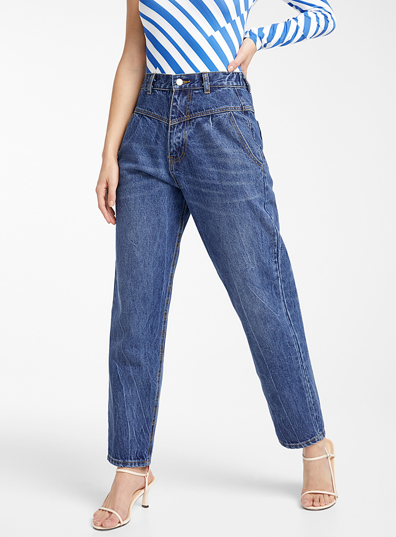 Ic?ne Slate Blue Elastic waist V-panel jean for women