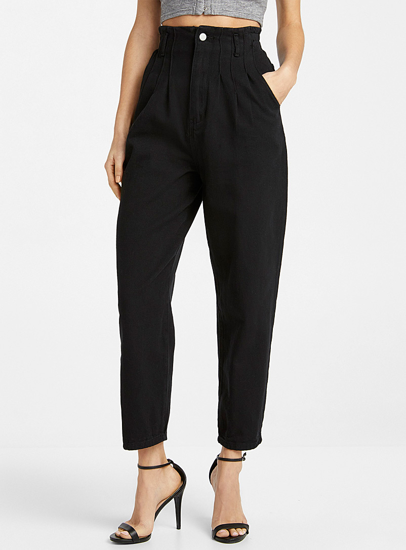 Ic?ne Black Pleated high-rise jean for women