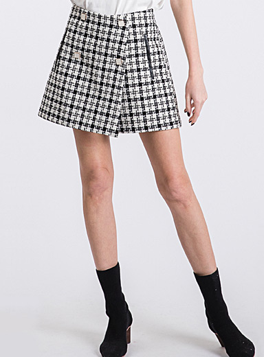 Icône Black and White Crossover tweed skort for women