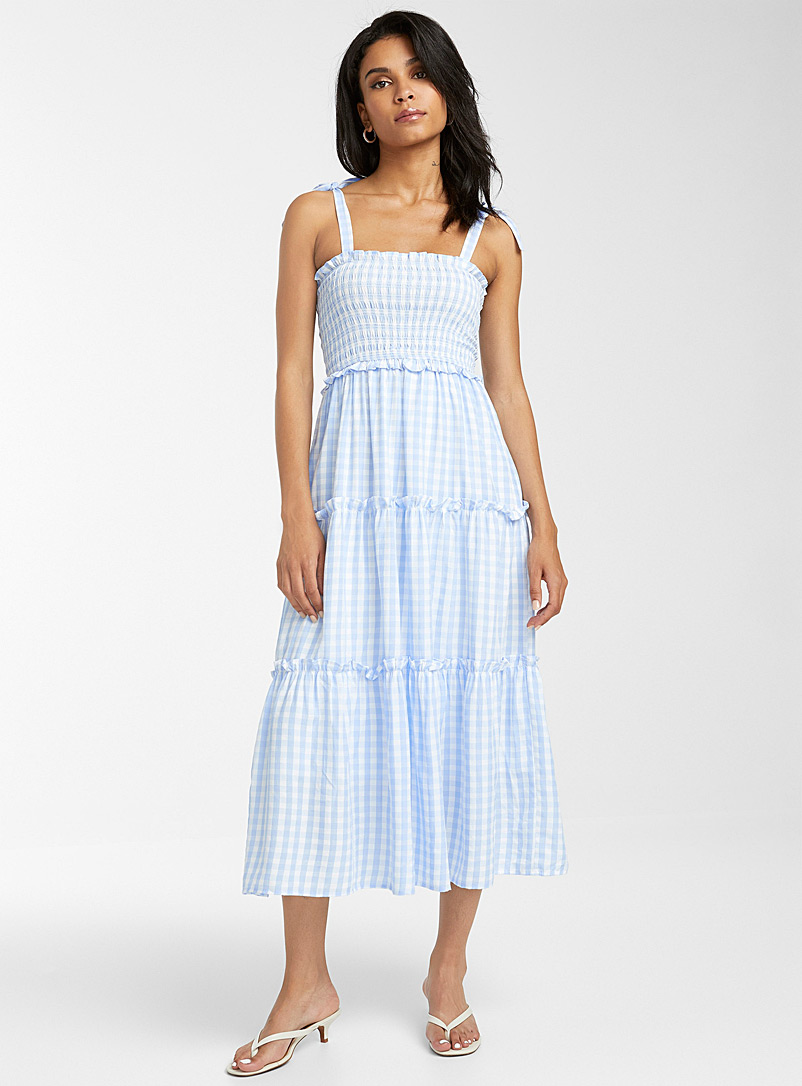 Icône Patterned Blue Gingham peasant dress for women