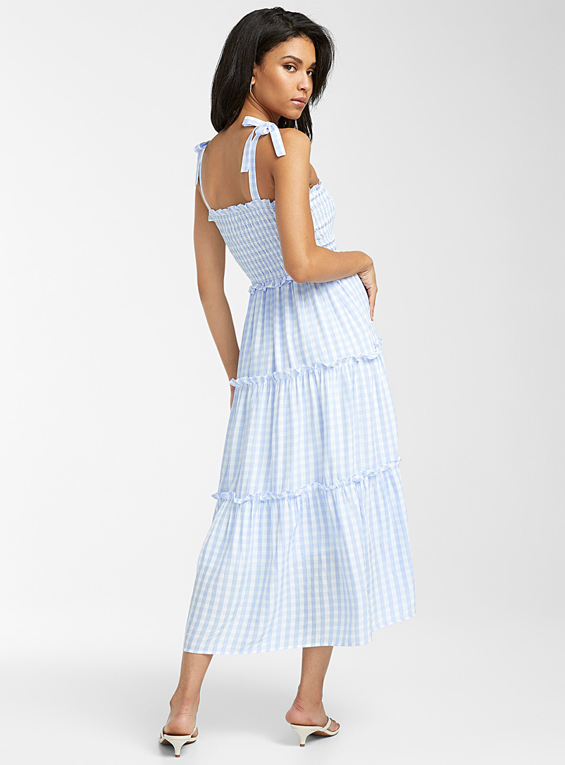 Icône Black and White Gingham peasant dress for women