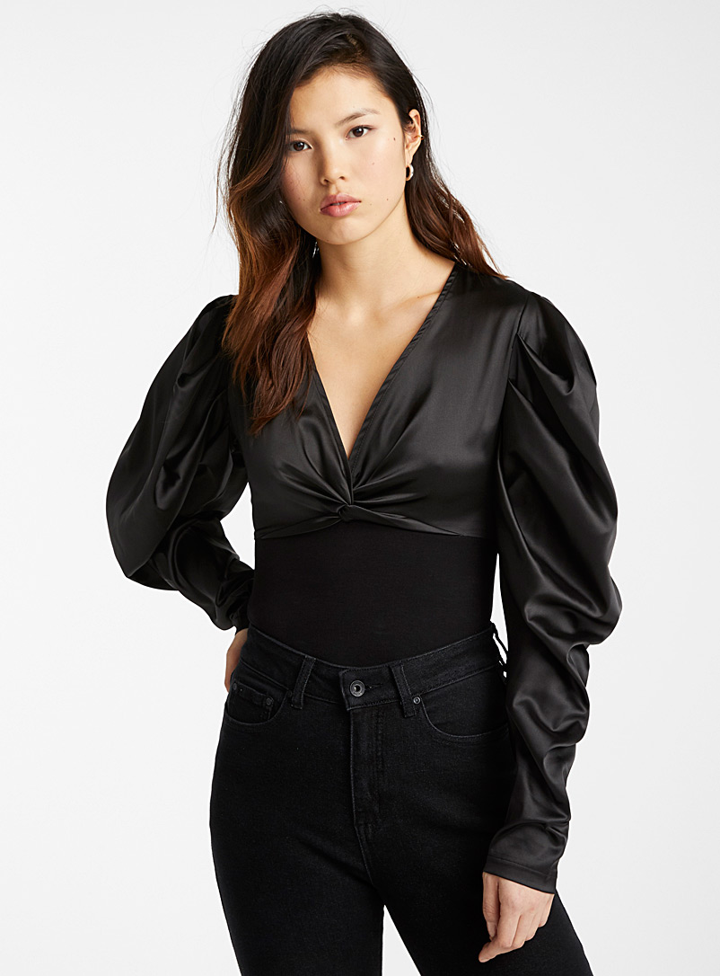 Icône Black Oversized sleeve satin bodysuit for women