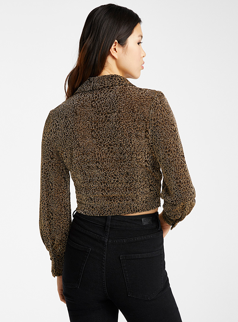 Shiny leopard crossover blouse - Long Sleeves - Golden Yellow