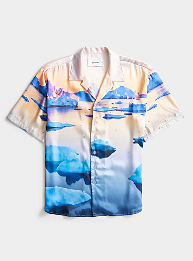 Bonsai Dusky Pink Arctic glacier camp shirt for men
