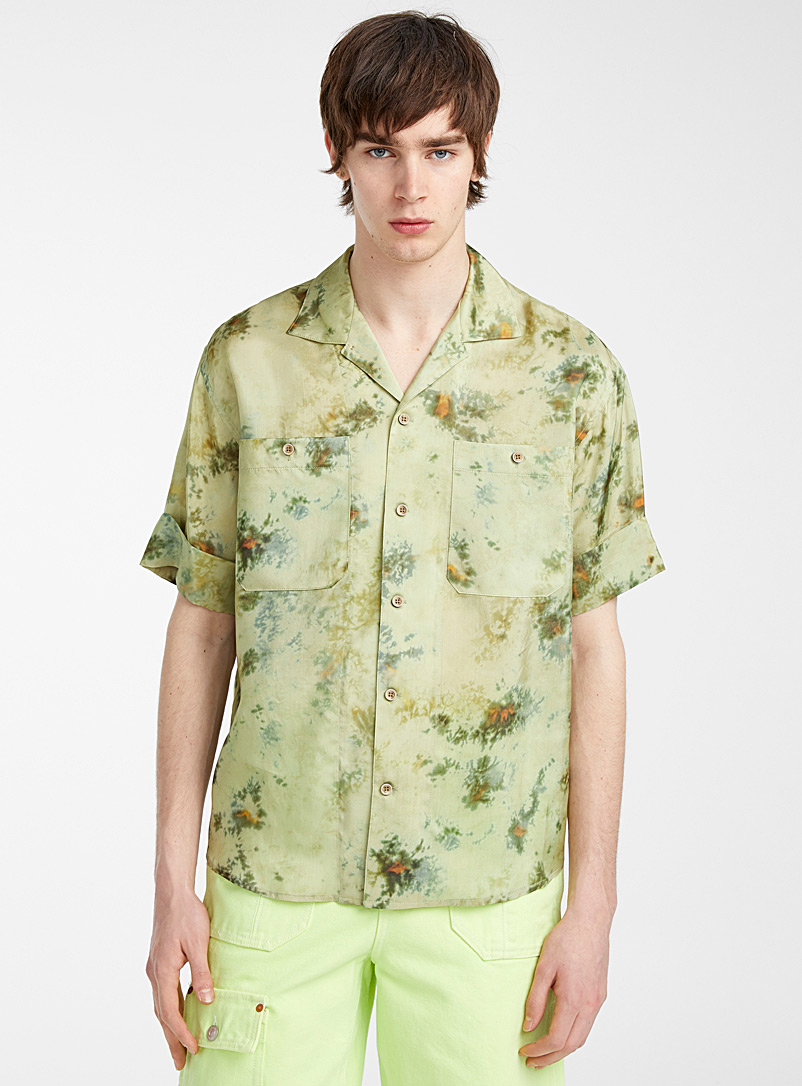 Andersson Bell Green Fluid forest tie-dye camp shirt for men