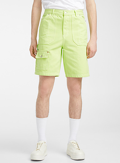 Andersson Bell Lime Green Faded neon Bermudas for men