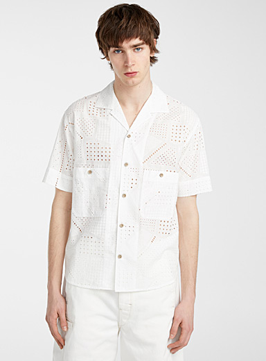 Andersson Bell: La chemise broderie anglaise géo Ivoire blanc os pour homme