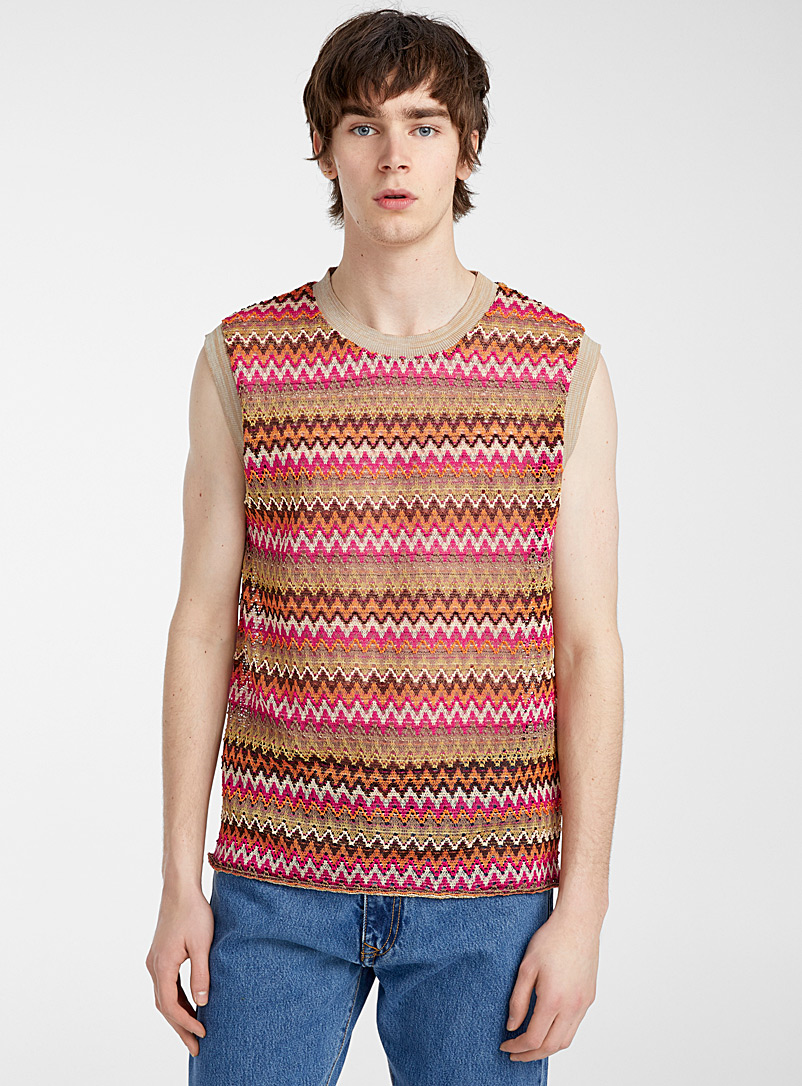 Andersson Bell Red Openwork herringbone tank for men