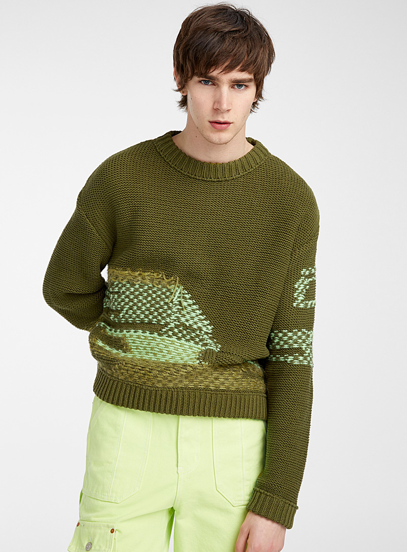 Andersson Bell Mossy Green Reverse knit sweater for men