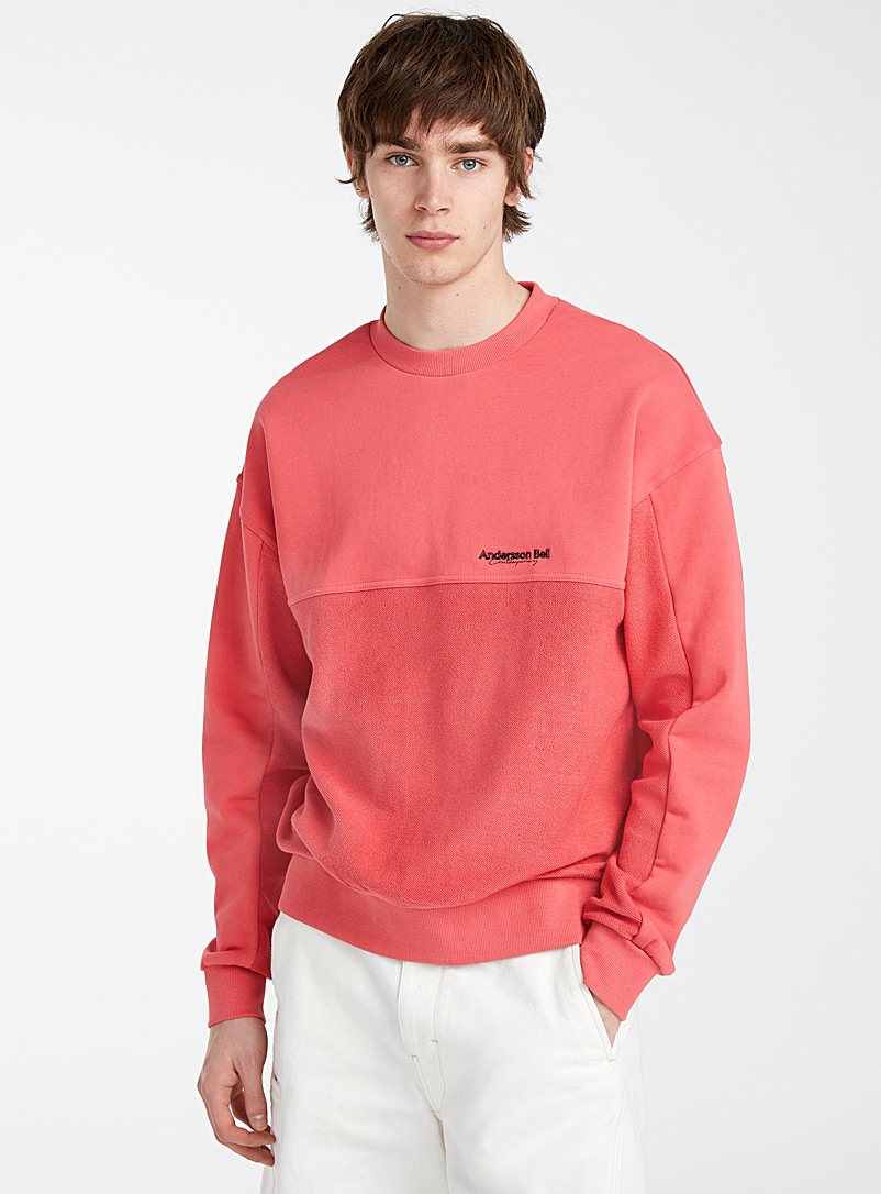 Andersson Bell Pink Graphic seaming sweatshirt for men